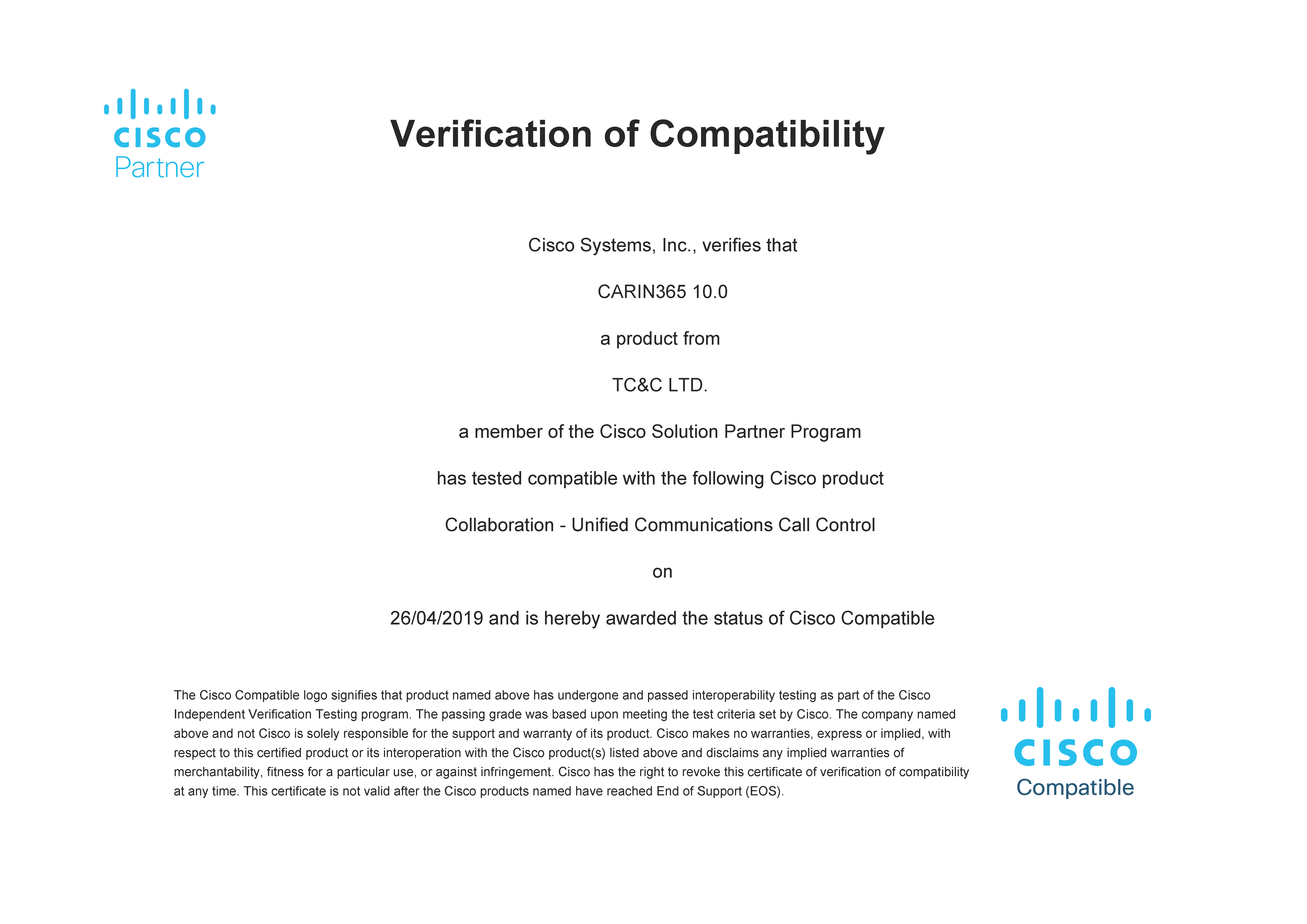 CARIN365 10.0 Cisco Compatibility Certification