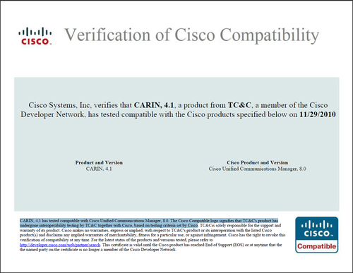 CARIN 4.1 Cisco Compatibility Certification